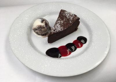 Flourless Chocolate Cake with Panda Paw Ice Cream