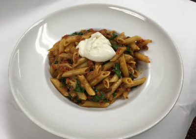 Penne with Crumbled Fennel Sausage & Burrata Cheese